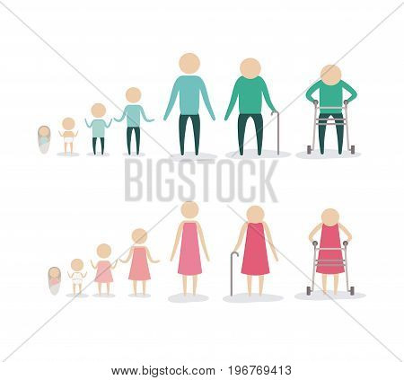 white background with color silhouette pictogram aging age human life young growing old process female and male people vector illustration