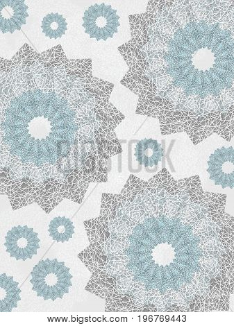 Geometric background with snowflake effect. Pattern of openwork lace round shapes. Airy ornament in pale blue and light gray. Delicate, nice, soft, artistic image