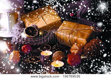 2018 New year and christmas background. Sparkle magic snow. Joyeux Noel. Christmas tree toys. Xmas gift box. Selective soft focus.