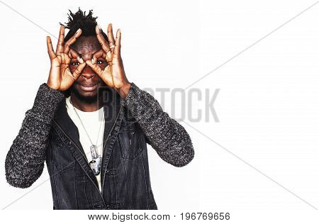 young handsome afro american boy stylish hipster guy gesturing emotional isolated on white background smiling, lifestyle people concept close up