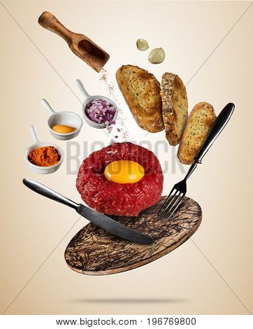 Flying tartar steak with spice and toasts. Concept of flying food in low gravity. Very high resolution image. Separated on colored background
