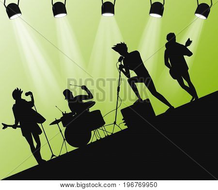 Hard Rock band silhouette on stage. Action angle with searchlights