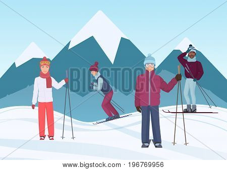 A group of people riding skies in the mountains vector illustration. Ski people