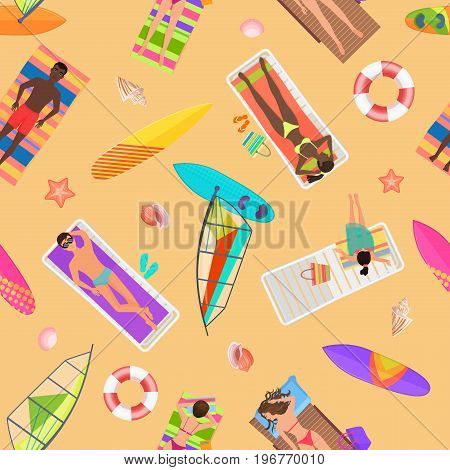 Beach seamless pattern top view. Summer people on a sunny beach. View from above summertime people with Umbrellas, towels and sunbeds. Cartoon vector illustration