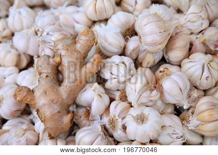 piles of ginger and Garlic in the market of india
