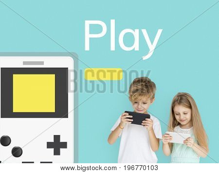 Children working on digital device network graphic overlay background