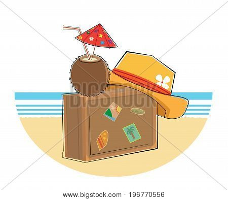 Suitcase with hat and coconut drink on a sandy beach. Eps10