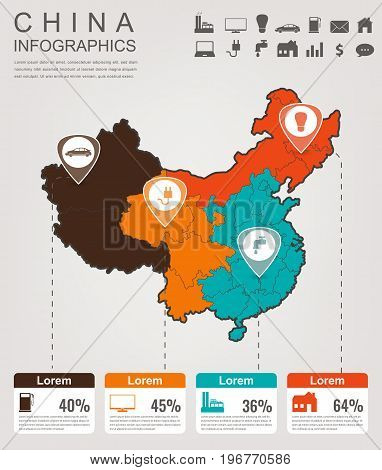 China map with Infographic elements. Infographics layouts. Vector illustration