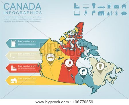 Canada map with Infographic elements. Infographics layouts. Vector illustration