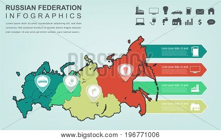 Russian Federation map with Infographic elements. Infographics layouts. Vector illustration