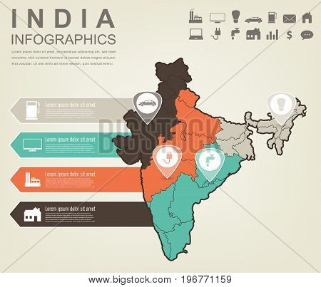 India map with Infographic elements. Infographics layouts. Vector illustration
