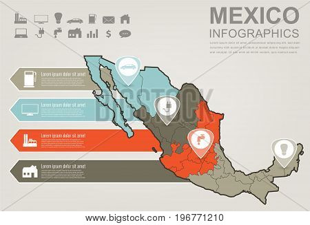 Mexico map with Infographic elements. Infographics layouts. Vector illustration