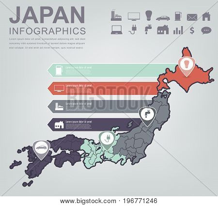 Japan map with Infographic elements. Infographics layouts. Vector illustration