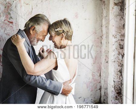 Senior couple dance together anniversary love