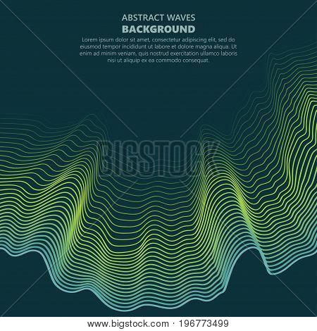 Abstract wave background, wavy color shape, brochure cover template. vector