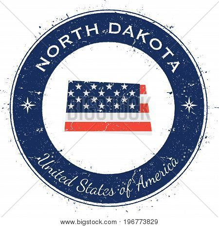 North Dakota Circular Patriotic Badge. Grunge Rubber Stamp With Usa State Flag, Map And The North Da