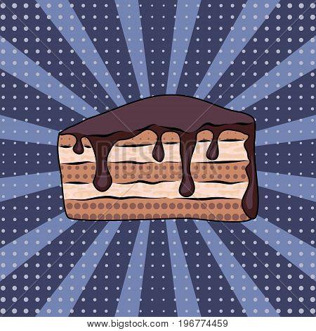 Tasty chocolate cake pop art on lilac background vector illustration