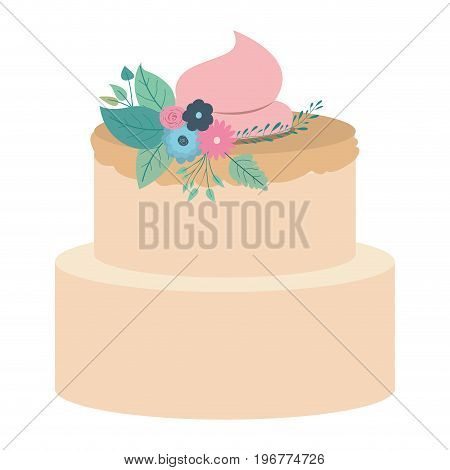 hand drawing color two-story cake with pink buttercream and ornament plants decorative vector illustration
