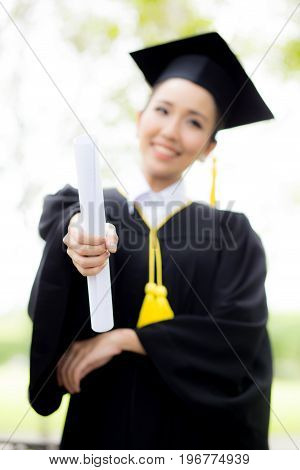 Happy Graduated Student Girl, Congratulations, Graduate Education Success.