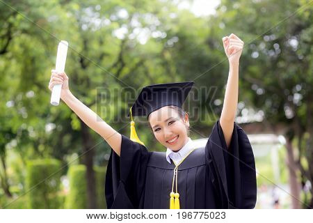 Successful Graduating Student With Nature Background, Happy Graduated Student Girl, Congratulations,