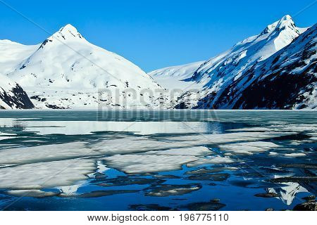 A view of Portage glacier in Alaska with reflections in the water