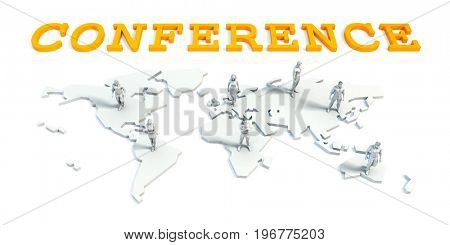 Conference Concept with a Global Business Team 3D Illustration Render