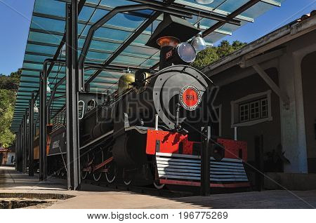 Monte Alegre do Sul, Brazil - July 19, 2011. View of old locomotive in disabled train station at Monte Alegre do Sul. In the countryside of São Paulo State, an agricultural region, southwestern Brazil