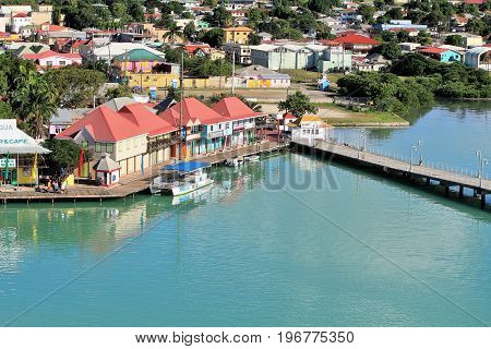 St. Johns Antigua - December 4 2016 - Shops and business near the cruise ship terminal in Antigua