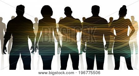 Silhoutte of Business People Standing in a Line Row 3D Illustration Render
