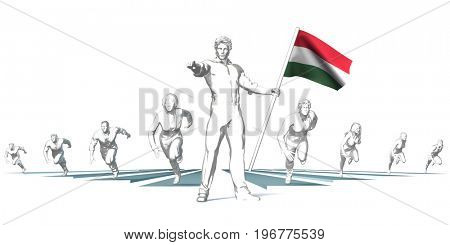 Hungary Racing to the Future with Man Holding Flag 3D Illustration Render