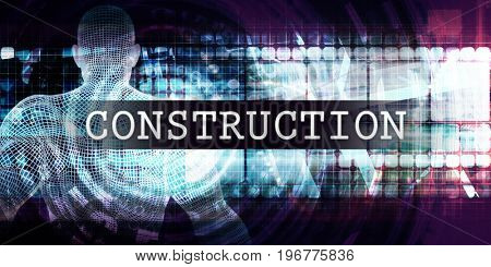 Construction Industry with Futuristic Business Tech Background