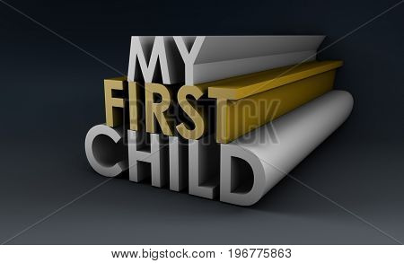 My First Child as an Announcement Concept 3D Illustration Render