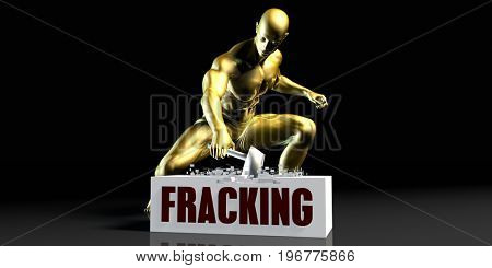 Eliminating Stopping or Reducing Fracking as a Concept 3D Illustration Render