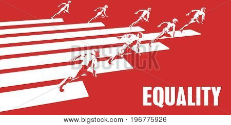 Equality with Business People Running in a Path 3D Illustration Render