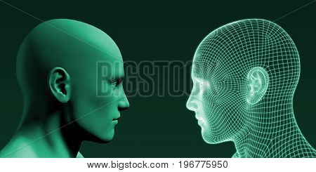 Human Wireframe and Digital Consciousness System Concept 3D Illustration Render