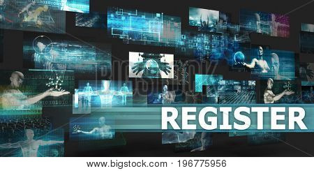 Register Presentation Background with Technology Abstract Art 3D Illustration Render
