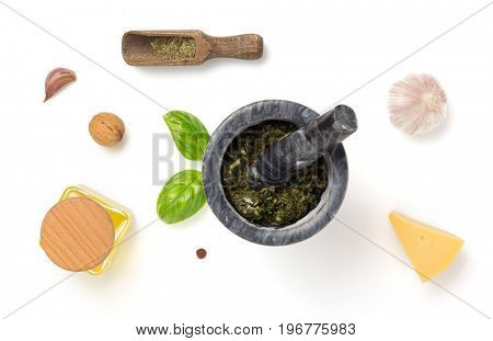 green sauce in mortar isolated on white background