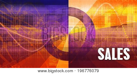 Sales Focus Concept on a Futuristic Abstract Background