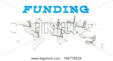 funding Global Business Abstract with People Standing on Map 3D Illustration Render