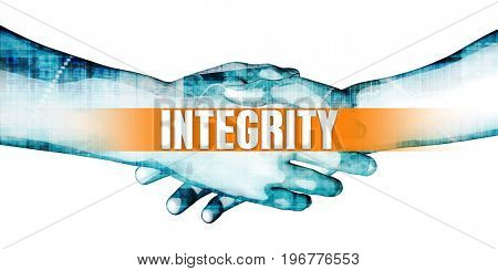 Integrity Concept with Businessmen Handshake on White Background 3D Illustration Render