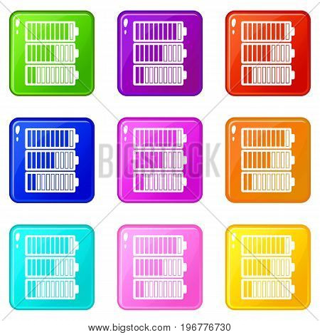 Battery indicators icons of 9 color set isolated vector illustration