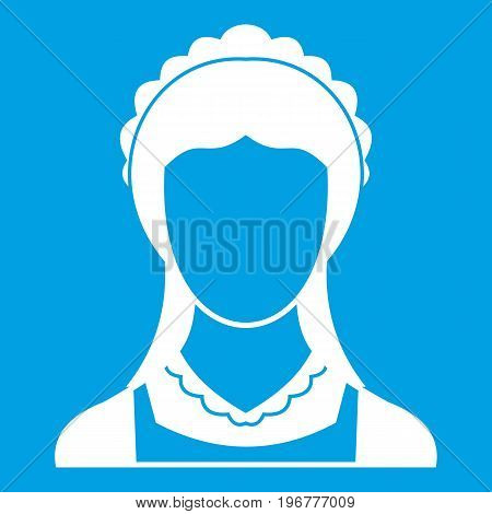 Cleaning household service maid icon white isolated on blue background vector illustration