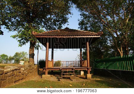 Wooden Gazebo in the yard of Barong Temple