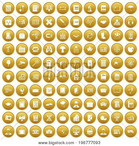 100 book icons set in gold circle isolated on white vector illustration