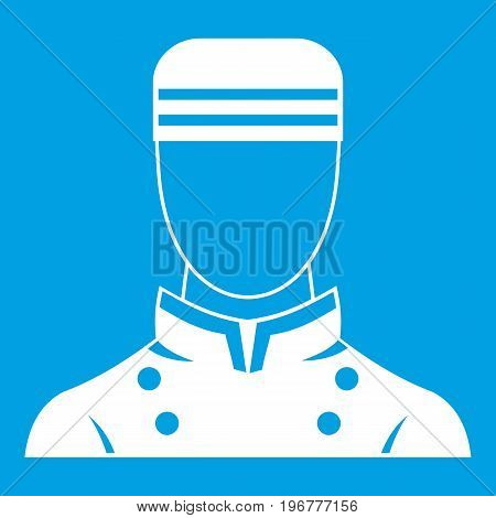 Doorman icon white isolated on blue background vector illustration
