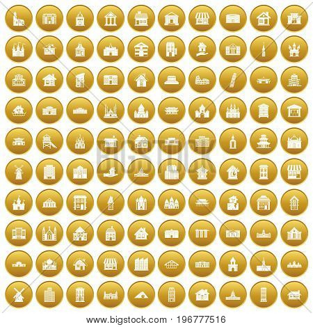 100 building icons set in gold circle isolated on white vector illustration