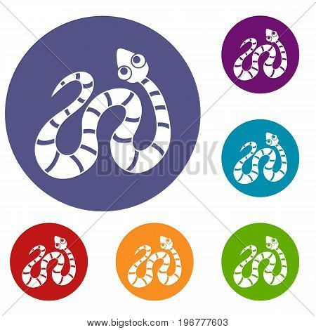 Black striped snake icons set in flat circle red, blue and green color for web