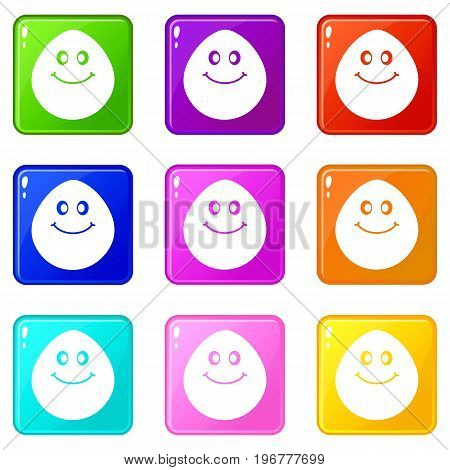Smiling lime icons of 9 color set isolated vector illustration