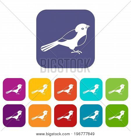 Bird icons set vector illustration in flat style in colors red, blue, green, and other