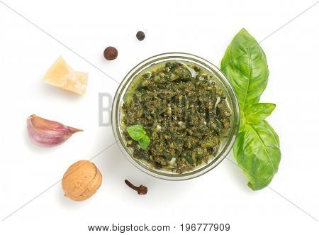 pesto sauce in bowl isolated on white background